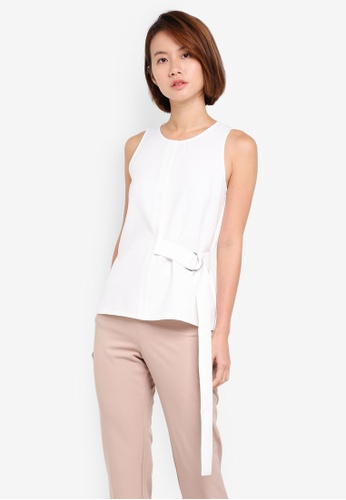ZALORA white Belted Loop Top 67FDEAA30DB4DBGS_1