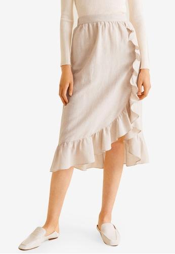 Mango beige Midi Ruffled Skirt 1F394AADF4B35BGS_1