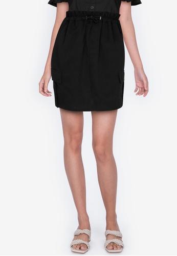 ZALORA BASICS 黑色 Paperbag Skirt with Stopper Detail D7B6AAA2E97C7DGS_1
