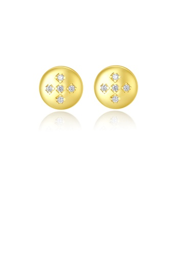 Glamorousky white 925 Sterling Silver Plated Gold Simple Fashion Geometric Round Stud Earrings with Cubic Zirconia 9FB4DACEBA5F77GS_1