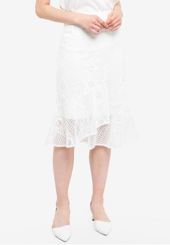 Yoco white Lace Mermaid Midi Skirt 0AD33AAF0FDADBGS_1