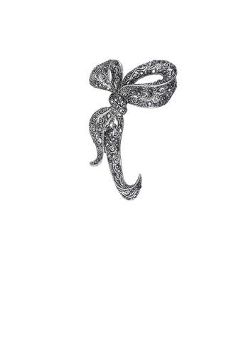 Glamorousky black Fashion and Elegant Ribbon Brooch with Black Cubic Zirconia C2CD0AC245FD7DGS_1