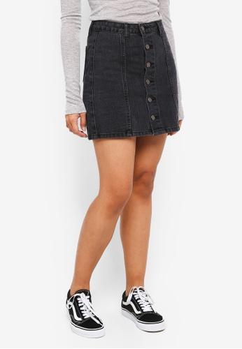 Something Borrowed grey Pocket Detail Denim Skirt A6AE3AAD4CC507GS_1