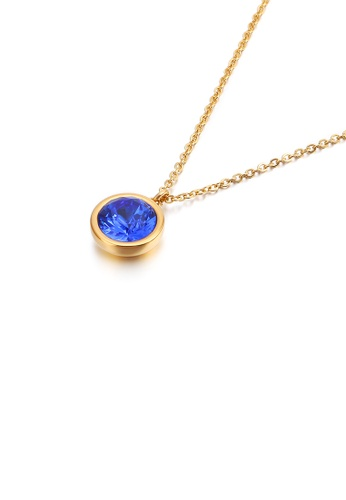 Glamorousky blue Simple and Fashion Plated Gold Geometric Round Blue Cubic Zirconia 316L Stainless Steel Pendant with Necklace 18411AC057CB9FGS_1