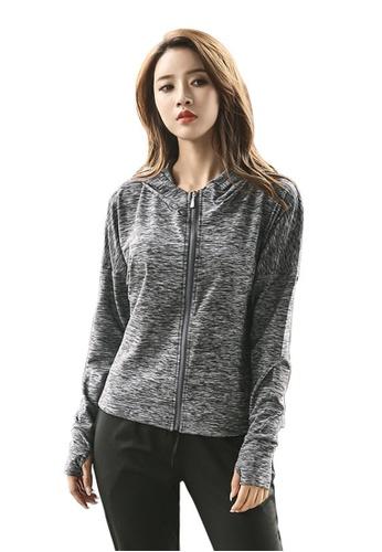 B-Code grey ZYG3076-Lady Quick Drying Running Fitness Yoga Sports Jacket -Grey 64E1BAA8B05A42GS_1