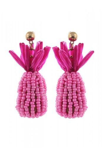 Style Cat pink and gold Style Cat Bahamas Pineapple Earrings BEAAEAC711F153GS_1
