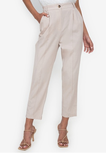 ZALORA BASICS beige Back Elastic Pleated Pants 7AE46AA82F5638GS_1