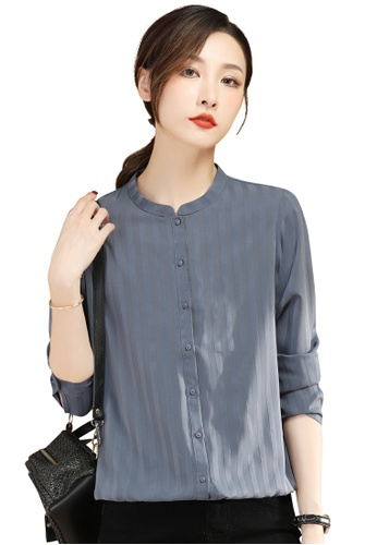 A-IN GIRLS blue Fashion Striped Long Sleeve Blouse CE49AAA585D29FGS_1