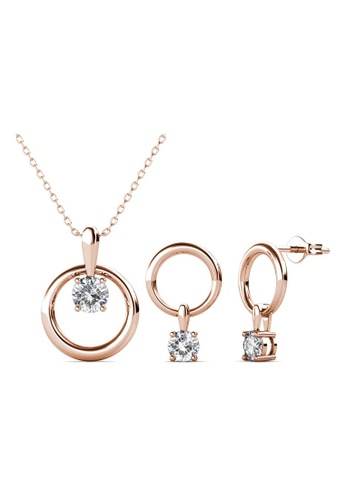 Her Jewellery Octavia Set (Rose Gold) - Made with premium grade crystals from Austria A1E86ACEE9AE9EGS_1