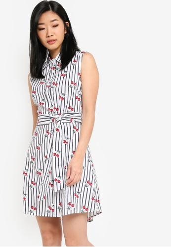 Something Borrowed white and navy Sleeveless Shirt Dress 213D1AADE37B4BGS_1