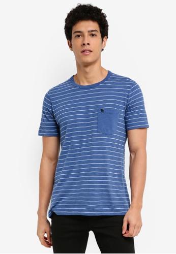Abercrombie & Fitch blue Short Sleeve Stripe T-Shirt D044BAAD9C3861GS_1