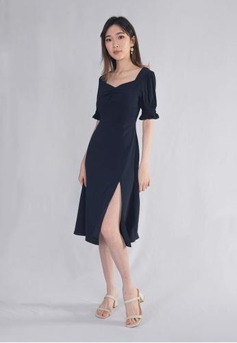 Plain B. blue Plain B. Square Neckline Stretchable Sleeve Midi Dinner Dress 15E3EAA1FC881BGS_1