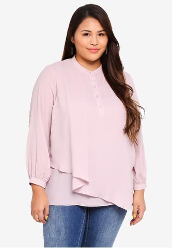 Ex'otico pink Plus Size Long Sleeve Mandarin Collar Blouse DFDAFAA708B6D8GS_1