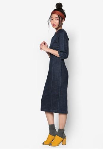 韓系時尚丹寧拼接連身裙, 服飾esprit outlet台北, 洋裝