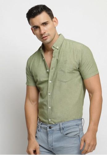 VENGOZ green Olive Green Oxford SS Shirt B116BAA23BD17AGS_1