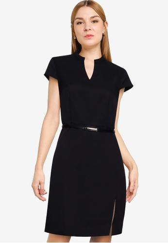 ZALORA WORK black Cap Sleeve Dress With Slit 2A51AAAE926690GS_1