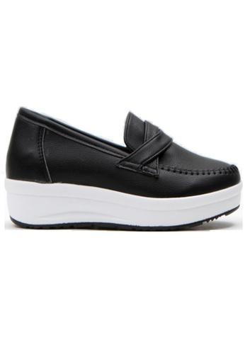 Crystal Korea Fashion 黑色 韓國制純色百搭內增高輕便鞋 5CCF2SH98EF483GS_1