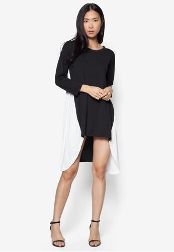 不對稱下擺撞色連身裙, 服esprit taiwan飾, 洋裝