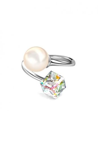 Her Jewellery silver Pearl Cube Ring - Cincin Crystal Swarovski® By Her Jewellery 9F4BDAC0C21A5BGS_1