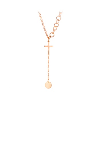 Glamorousky silver Simple Fashion Plated Rose Gold Cross Tassel Round 316L Stainless Steel Pendant with Necklace E8A38AC163E640GS_1
