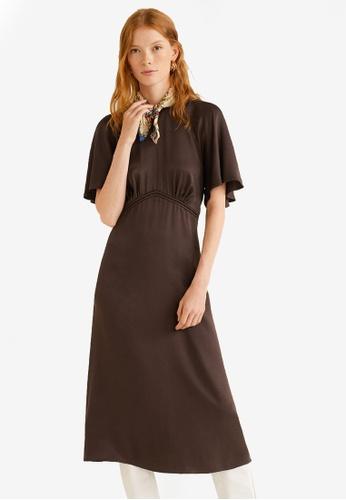Mango brown Ruched Midi Dress 0BC71AAD6F2F6AGS_1