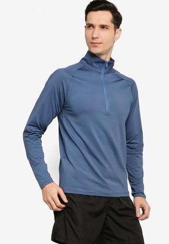 ZALORA ACTIVE blue Half Zip Training Long Sleeve Tee 208D1AA6CC0BCDGS_1