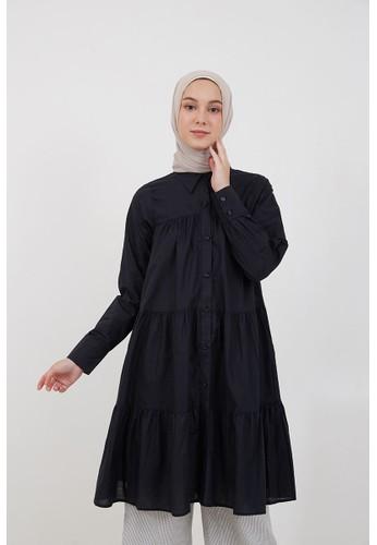Hijabenka black Sephia Fenie Ruffle Tunic Black 53B30AA57E4842GS_1