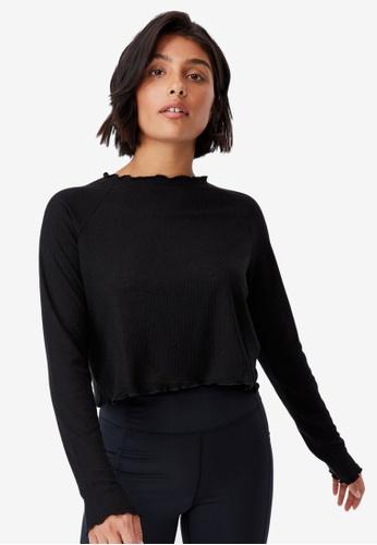 Cotton On Body black Raglan Cross Back Long Sleeve Top C33C7AAF635B50GS_1