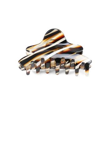 Glamorousky silver Fashion and Elegant Brown Striped Hair Claw 27AF9AC81A9F28GS_1