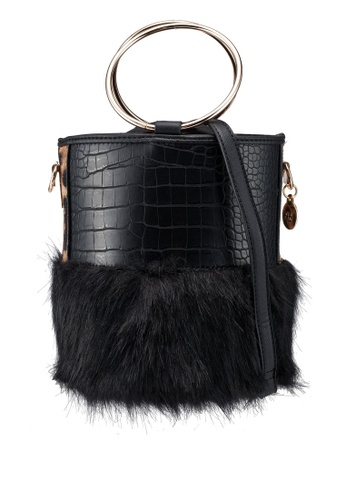 River Island Black Faux Fur Croc Round Crossbody Bag 204ebac01377c8gs 1