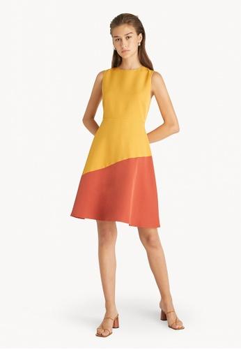 Pomelo yellow Two Tone Flare Dress - Yellow CC892AA86ABFDEGS_1