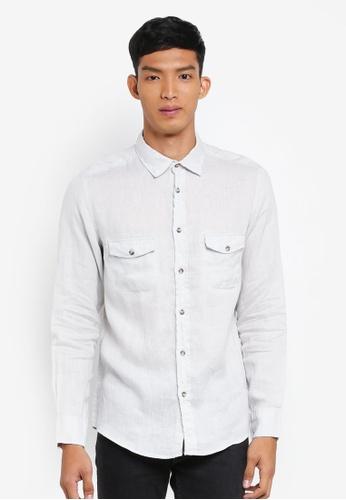 OVS 白色 休閒長袖襯衫 F5623AAB3952FEGS_1