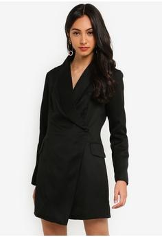 969887c6502 MISSGUIDED black Petite Asymetric Blazer Dress BDB53AAABB80D6GS_1