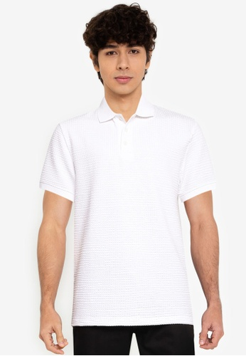 French Connection white Seersucker Jersey Short Sleeve Polo Shirt 7E764AAE7429C3GS_1