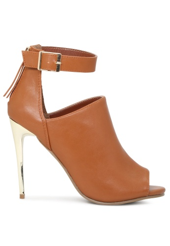 London Rag brown COGNAC Peep Toe Sandals SH1782 0D03BSH9E8050FGS_1