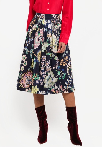 J.Crew navy Tulip Skirt In Liberty Floral Symphone 2BD40AA516FFC0GS_1