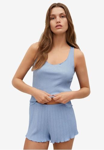 Mango blue Ribbed Pyjama Shorts C7C46AAF6904FEGS_1