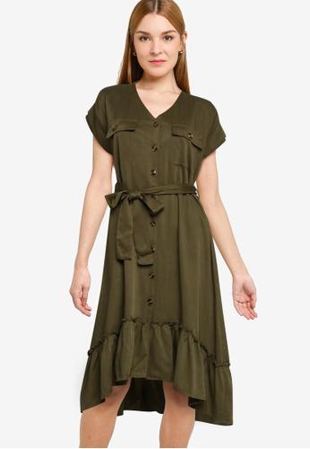 Nichii 綠色 Tie A-Line Dress 603A9AA5AF7E5EGS_1