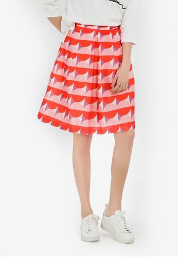 Hopeshow orange Printed Pleated Skirt FFA31AAF380635GS_1