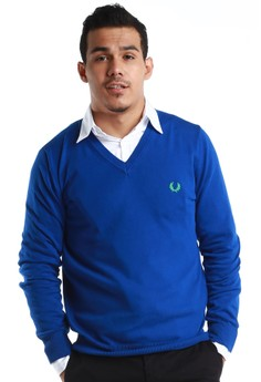Fred Perry Green Label  Electric Blue V-Neck Sweatshirt