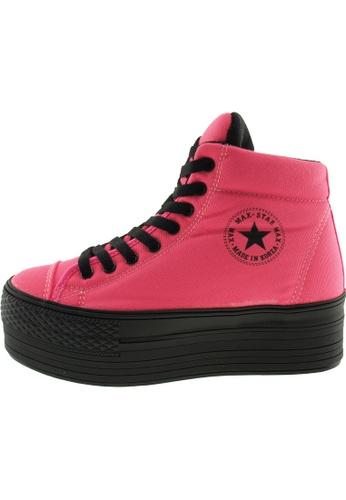 Maxstar 粉紅色 新款韩国鞋C50-Taller時尚帆布布混合女粉紅色 US Women Size MA345SH49GVETW_1