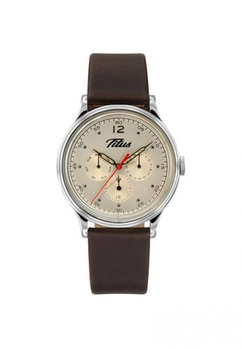Solvil et Titus brown Vintage Men's Multi-Function Quartz Watch in Warm Silver Dial and Dark Brown Leather Strap E1460AC466ECEBGS_1