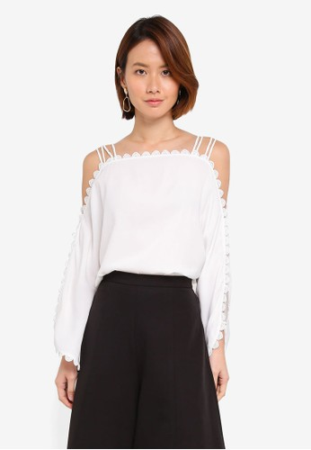 KLEEaisons white Cold Shoulder Top With Lace Trim C8255AA3B703EFGS_1