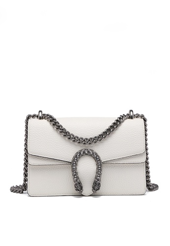 Twenty Eight Shoes white VANSA Fashionable Lock Chain Crossbody Bag VBW-Cb80328 6FD84AC5046D59GS_1