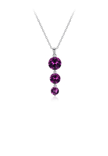 Glamorousky purple 925 Sterling Silver Round Pendant with Purple Austrian Element Crystal and Necklace 8E32CACC66805AGS_1