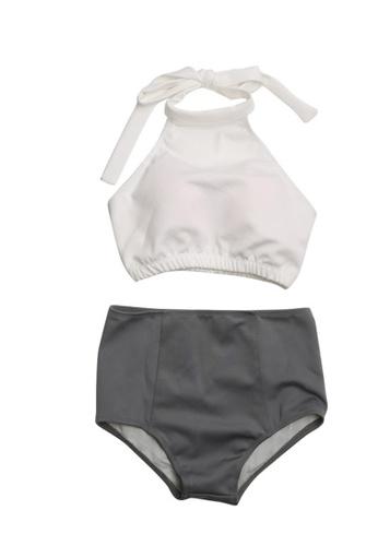 ZITIQUE white Halter High Waist Bikini Set - White 103A3USB829BF9GS_1