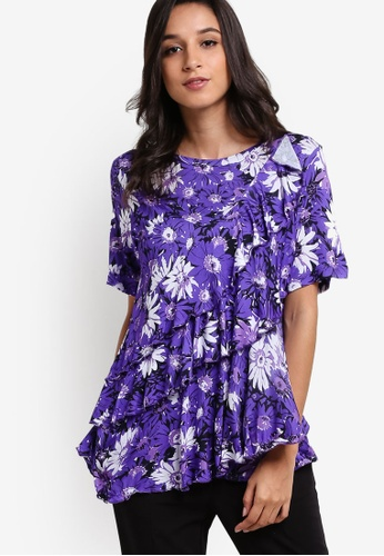 WAREHOUSE purple Aster Frill Print T-Shirt WA653AA32GDNMY_1