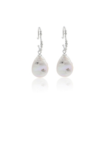 Glamorousky white 925 Sterling Silver Fashion Simple Water Drop Shape Freshwater Pearl Geometric Earrings with Cubic Zirconia FAB17AC932E103GS_1