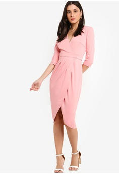 9a6bea4272 35% OFF ZALORA Mid Sleeves Overlap Dress RM 105.00 NOW RM 67.90 Sizes XS S  M L XL