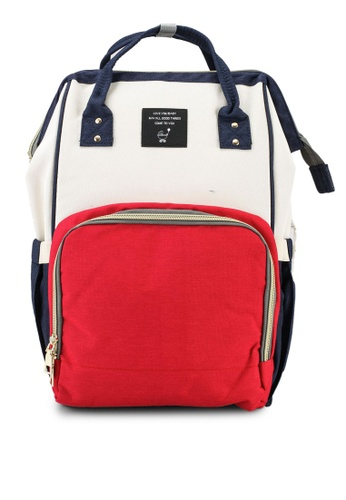 Bagstationz red Travel Diaper Backpack 35637AC2CED7E7GS_1